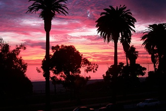 Sunset in Santa Monica, California.