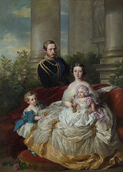 Prince Frederick William of Prussia with his wife and two older children, Prince William and Princess Charlotte. Portrait by Franz Xaver Winterhalter, 1862