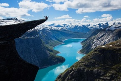 Ringedalsvatnet lake and Trolltunga cliff