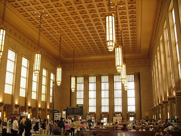 The grand concourse at Philadelphia's 30th Street Station, which accommodates SEPTA Regional Rail and Amtrak service.