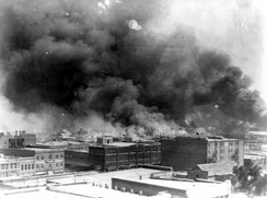 The 1921 Tulsa race massacre in the Greenwood district, which resulted in the deaths of over 150 black people, was a central moment in Watchmen's narrative.