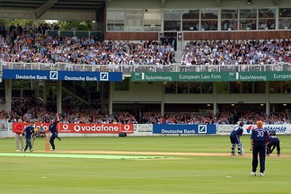 Middlesex playing against Surrey at Lord's, in front of a 28,000-strong crowd