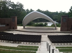 The renovated Matoaka Amphitheater scenically located on the shore of Lake Matoaka.