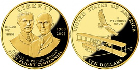 The three $10 commemorative coins: (1) 1984 Summer Olympics, (2) 2000 Library of Congress, and (3) 2003 First Flight Centennial
