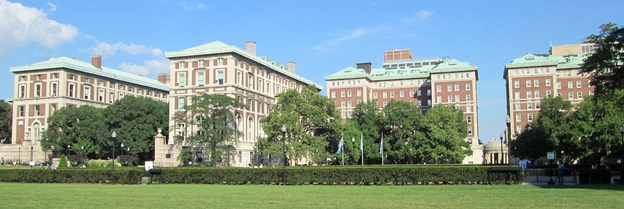 Panorama of part of the Columbia University campus, looking east from the South Lawn