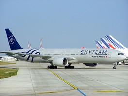 An Air France Boeing 777-300ER specially painted in SkyTeam livery to commemorate the airline's membership