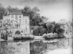 Pope's villa at Twickenham, showing the grotto; from a watercolour produced soon after his death