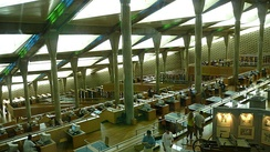 Interior of the Bibliotheca Alexandrina, Alexandria, Egypt, showing both stacks and computer terminals