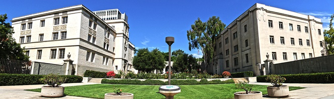 Caltech entrance at 1200 E California Blvd.  On the left is East Norman Bridge Laboratory of Physics and on the right is the Linde Hall of Mathematics and Physics.
