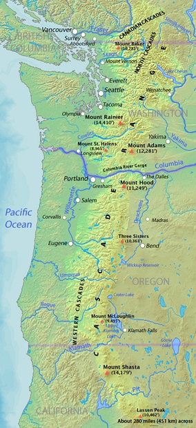 Map of the Cascade Range showing major volcanic peaks