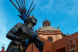 A statue of a Chichimeca warrior in the city of Querétaro
