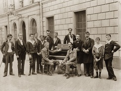 Piano class of Charles de Bériot in 1895 with Maurice Ravel on the left