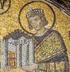 Emperor Constantine I presents a representation of the city of Constantinople as tribute to an enthroned Mary and Christ Child in this church mosaic. Hagia Sophia, c. 1000.