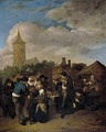 Village Market with the Quack by Cornelis Pietersz Bega, 1654