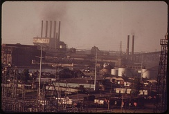 Dearborn skyline with Ford River Rouge Complex in background, 1973