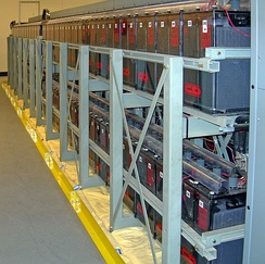 A bank of batteries in a large data center, used to provide power until diesel generators can start
