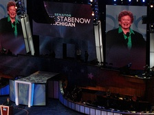 Stabenow speaks during the second day of the 2008 Democratic National Convention in Denver, Colorado.