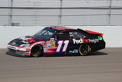 Denny Hamlin won the race after leading the most laps (105).