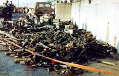A pile of discarded Argentine weapons in Port Stanley