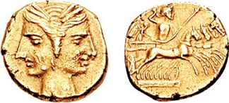 A Carthaginian shekel, perhaps struck in a mint at Bruttium where it was circulated during the Carthaginian occupation (216–211 BC); janiform female heads are shown on the obverse; on the reverse Zeus wields a thunderbolt and sceptre while riding in a quadriga driven by Nike, goddess of victory.