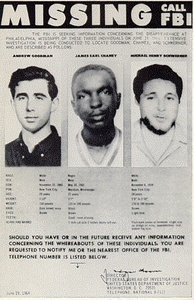 Missing persons poster created by the FBI in 1964, shows the photographs of Goodman, Chaney, and Schwerner.