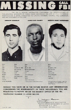 Missing persons poster created by the FBI in 1964 shows the photographs of Andrew Goodman, James Chaney, and Michael Schwerner.