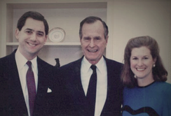 President George H. W. Bush with French and Martha Hill.