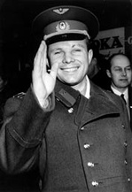 Soviet cosmonaut Yuri Gagarin, the first man in space
