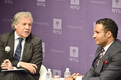 Geovanny Vicente, columnist for The Washington Examiner and CNN, moderating a conversation with the Secretary General of the Organization of American States Luis Almagro. This discussion on democracy was hosted at NYU Washington.
