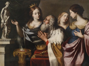 King Solomon with his wives. Illustrated in 1668 by Giovanni Battista Venanzi.
