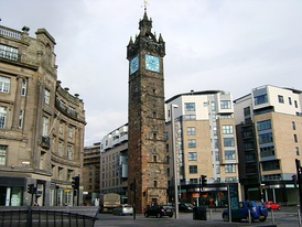 The Tolbooth Steeple dominates Glasgow Cross and marks the east side of the Merchant City.