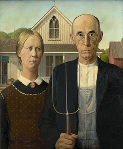 Grant Wood's magnum opus American Gothic, 1930, has become a widely known (and often parodied) icon of social realism.