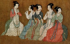 Chinese women playing flutes, from the 12th-century Song dynasty remake of the Night Revels of Han Xizai, originally by Gu Hongzhong (10th century)