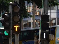 Tram traffic lights at a tramway junction in Hong Kong