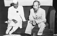 Nehru with North Vietnamese President Ho Chi Minh in Hanoi; 1954