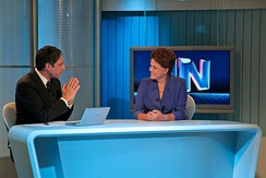 Former President Dilma Rousseff at Jornal Nacional news program. Rede Globo is the world's second-largest commercial television network.[357]