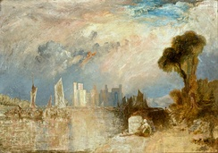A painting of Caernarfon by J. M. W. Turner in 1830–1835