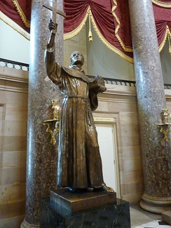 Statue of Junípero Serra by Ettore Cadorin is one of two statues representing California in the National Statuary Hall at the U.S. Capitol.