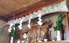 Japanese Shinto shrine with rope made of hemp