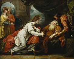 A 1793 painting of King Lear and Cordelia by Benjamin West.