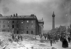 Damage in Dublin city centre following the 1916 Easter Rising