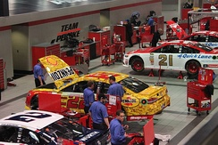 Logano's 2016 Homestead car being prepared inside Team Penske's Mooresville, NC Race Shop.