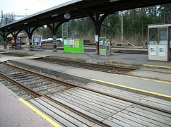 Low-lying platform at a station near Bern, Switzerland