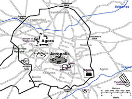 Map of ancient Athens showing the Acropolis in middle, the Agora to the northwest, and the city walls.