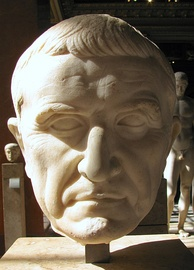 A Roman marble head of the triumvir Marcus Licinius Crassus, who was defeated at Carrhae by Surena