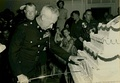 Merwin H. Silverthorn cuts the Marine Corps Birthday Cake in 1953 at MCRD Parris Island.