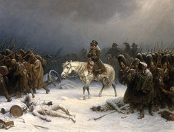 Napoleon's retreat from Russia in 1812. Napoleon's Grande Armée had lost about half a million men.