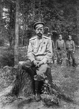 One of the last photographs of Nicholas II, showing him at Tsarskoye Selo after his abdication in March 1917