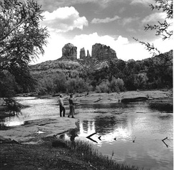 Fishing in Oak Creek, Cathedral Rock in background, 1959.