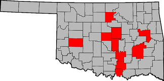 Red counties indicate Oklahoma counties where Governors of Oklahoma were born.